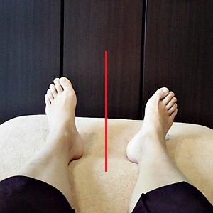 左に比べて右足が外側に開いてる画像